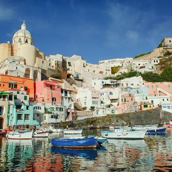 Procida colorful island in the gulf of Naples, Mediterranean sea, Southern Italy