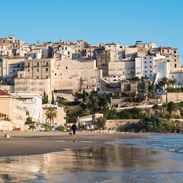 Panoramic view of Sperlonga and beautiful sandy beach. Winter in Italy
