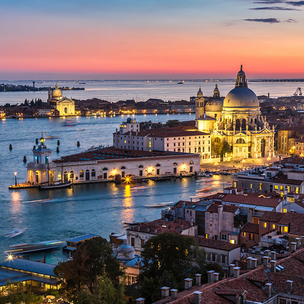 View of Basilica di Santa Maria della Salute  under sunset,Venice, Italy