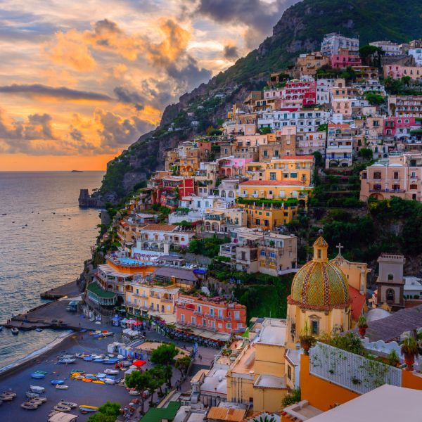 "positano, sunset, dawn, italy, amalfi, coast, ""amalfi coast"", beach, mediterranean, campania, sorrento, salerno, ravello, landscape, see, ocean, travel, colorful, town, tourism, resort, sunshine, coastal, seaside, seascape, hotels, tourists, residential, village, nature, italian"