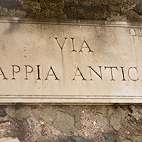 Via Appia antica road sign, Rome
